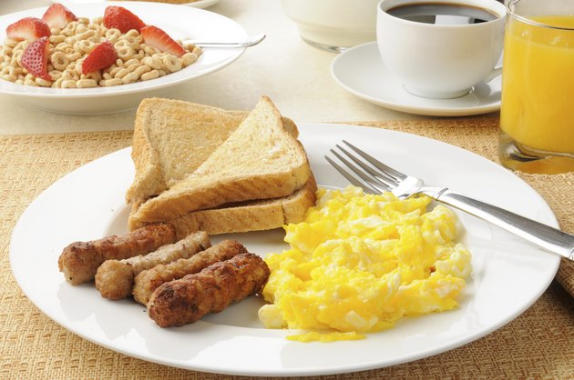 Hearty sausage and egg breakfast