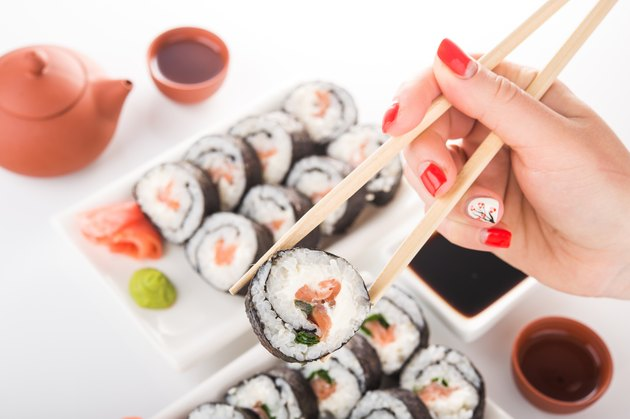 sushi with rice and salmon