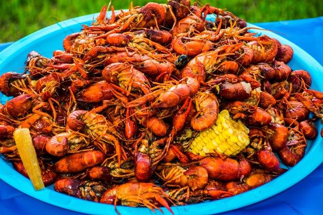 Crayfish Corn Potatoes Shell Fish Piled High Cajun Crawfish Bowl