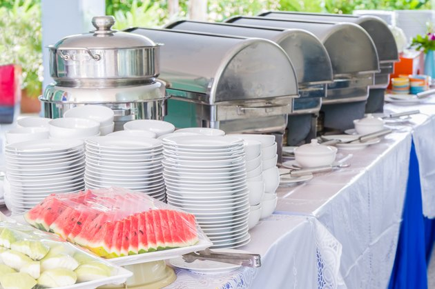 Many buffet trays.