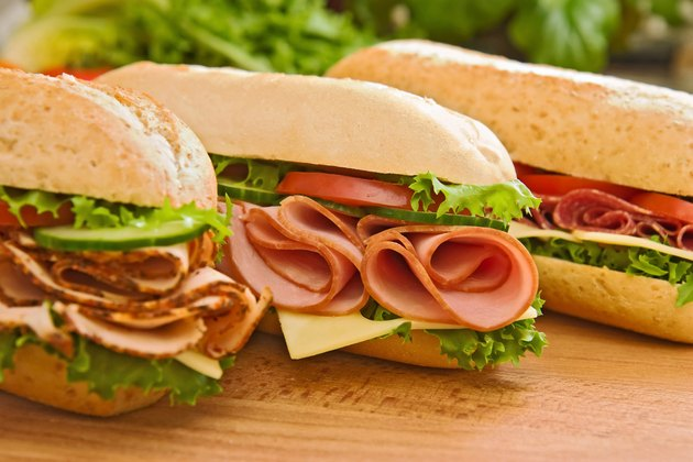 Turkey/chicken breast, ham & swiss and salami sandwiches