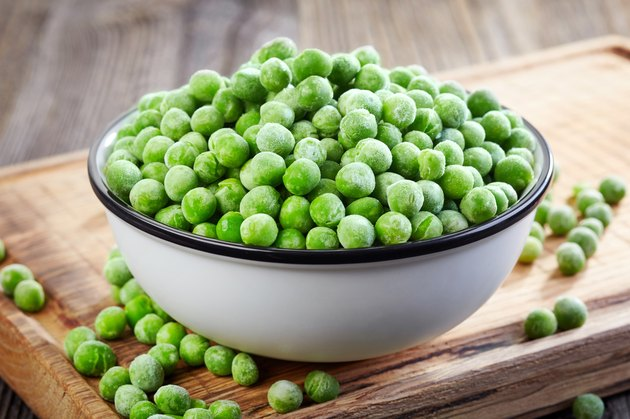bowl of frozen green peas