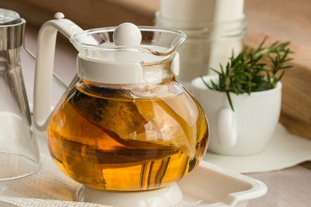 glass teapot with herbal infussion