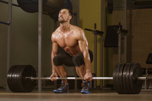 Bodybuilder Doing Deadlift For Back