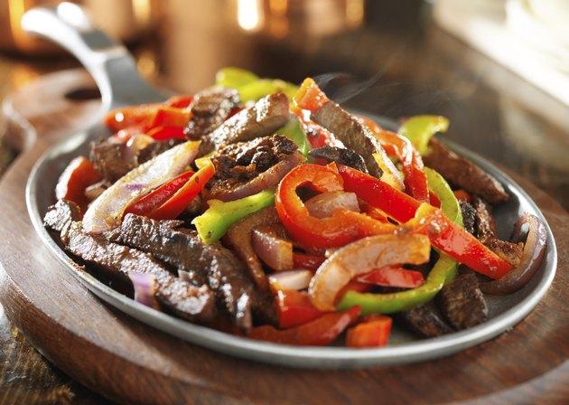 steamy hot mexican beef fajitas