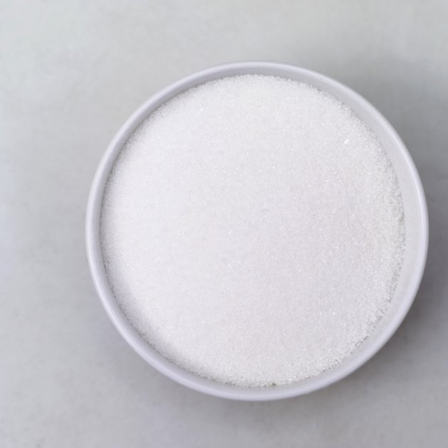 high angle view of a bowl of white sugar