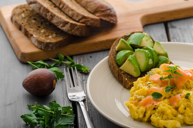 Salmon scrambled eggs and avocado toast