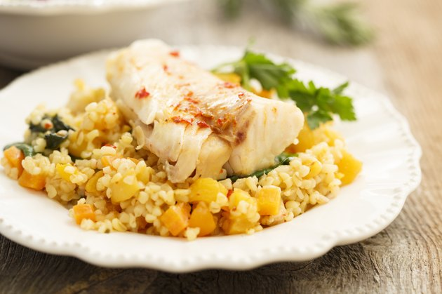 Pumpkin risotto with cod