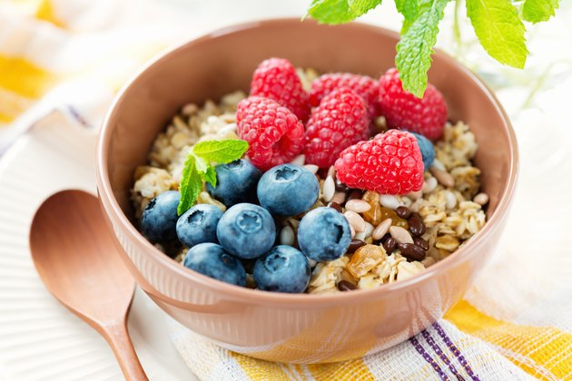 Healthy vegetarian breakfast with oatmeal
