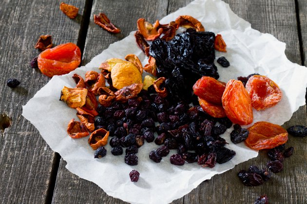 Various dried fruits: apricots, raisins, prunes, dried apples an