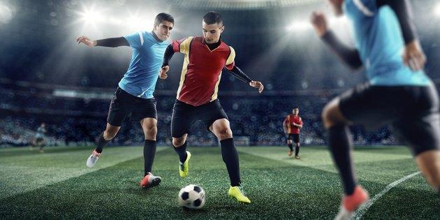 Soccer players in stadium
