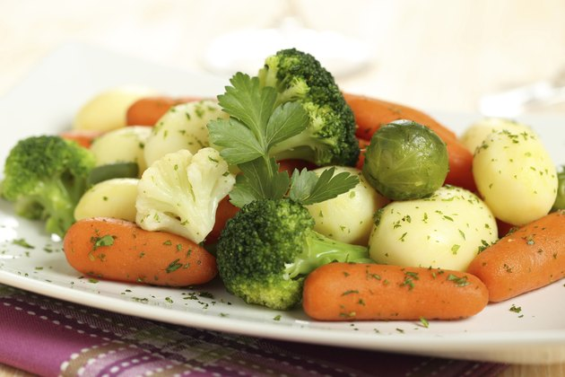 boiled vegetables carrots broccoli and potato