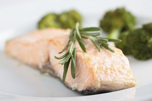 Baked salmon closeup