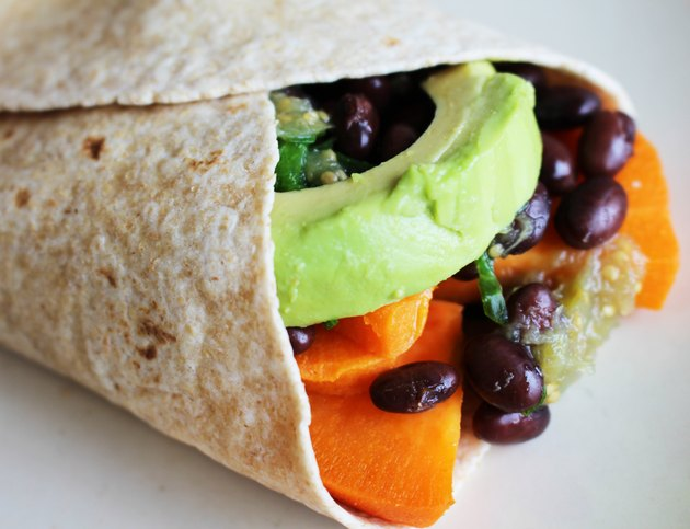 Vegetarian sweet potato burrito