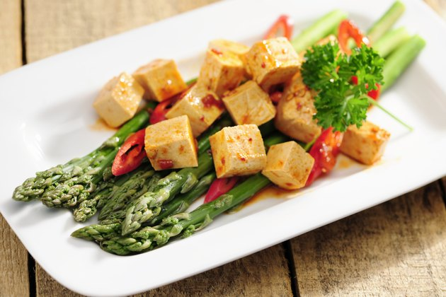 Cooked Asparagus and marinated Tofu