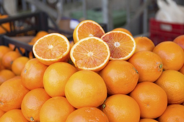 Fresh oranges on a market