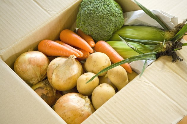 Variety of vegetables in a cardboard box