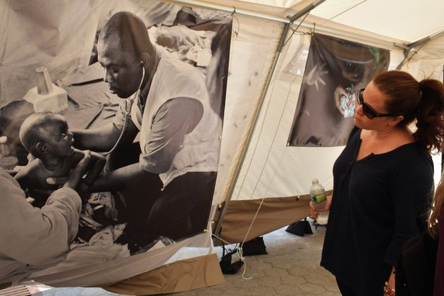 A Field Hospital Is Used As Exhibition In NYC's Union Square To Spotlight Childhood Malnutrition