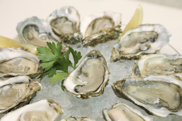 background of fresh oyster in a plate