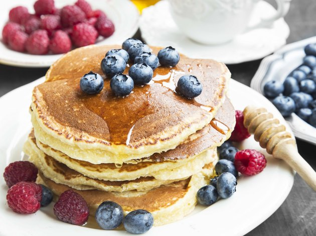 Honey Pancakes with Blueberries and Raspberries