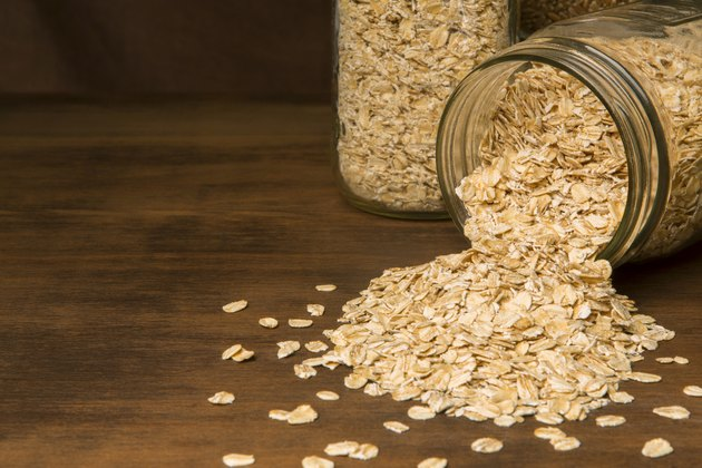 Glass Canning Jars With Rolled Oats