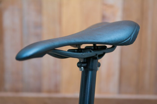 black leather bike saddle