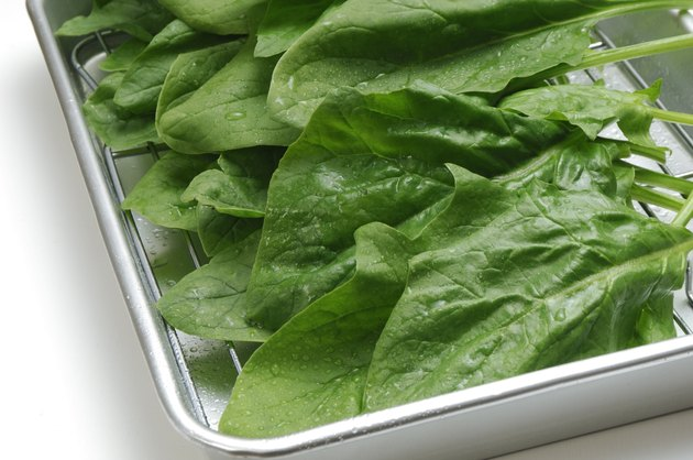 Spinach in a baking pan
