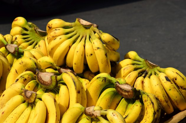 Bunch of bananas on basket
