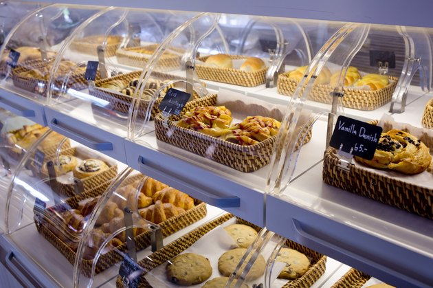 Variety of baked products in baskets