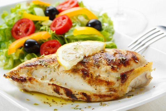 roasted chicken breast with salad