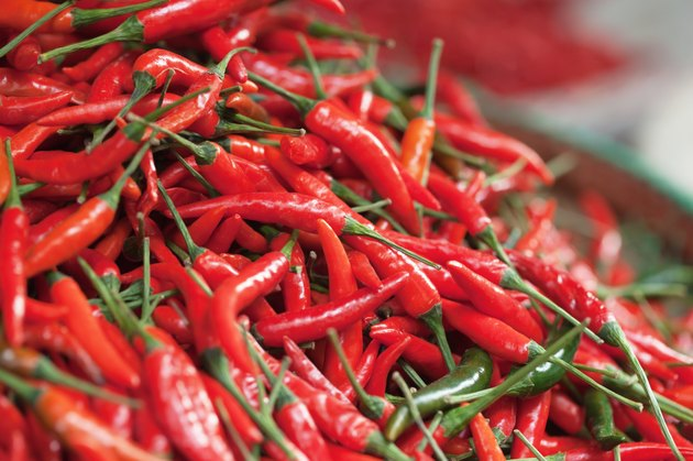 Red Chili Peppers pile in market