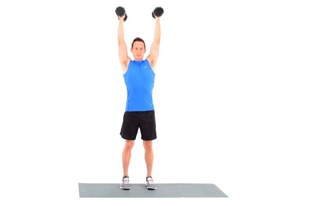 Proper form for a dumbbell shoulder press.