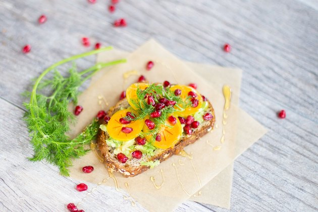 Persimmon and Pomegranate Avocado Toast
