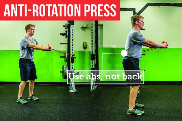 Man doing the anti-rotation press with proper form to prevent back pain