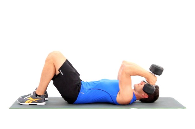 Proper form for a dumbbell lying triceps extension.