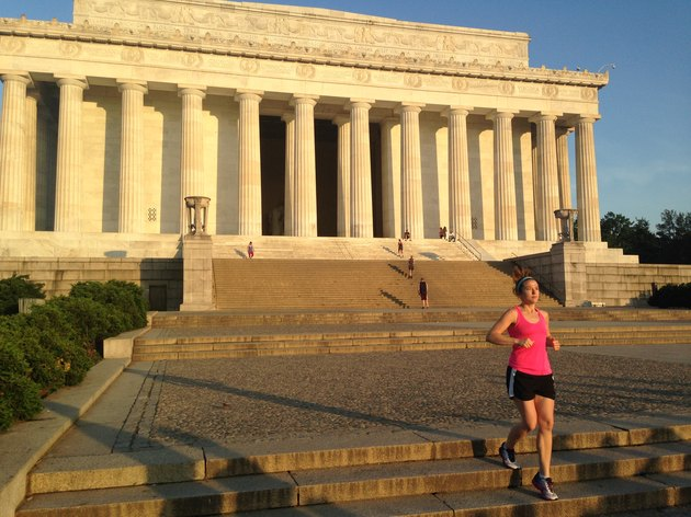 Once a week Michelle joins a group at 6:30AM to run the steps of the Lincoln Memorial.