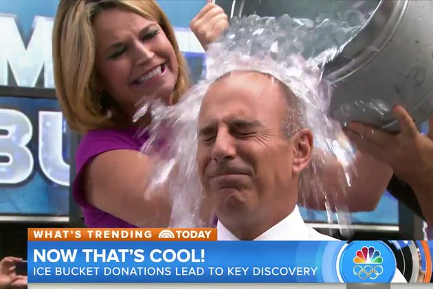 Savannah Guthrie dumps ice water over co-anchor Matt Lauer's head in archival footage from the NBC show.