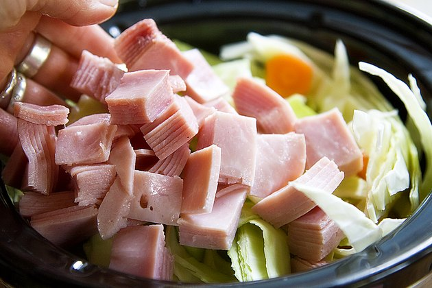 Ham and cabbage in a slow cooker