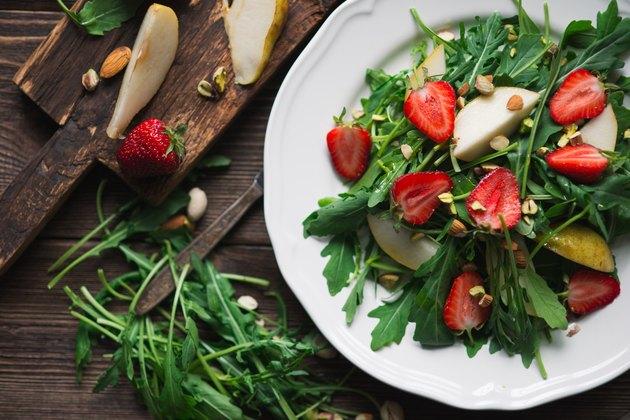 salad ingredients strawberries on salad