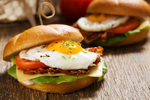 Breakfast sandwich with egg and veggies