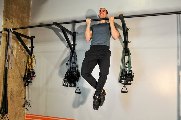 man doing a chin-up