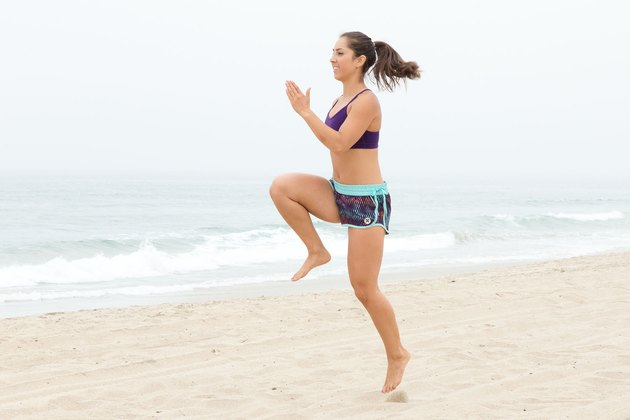 Woman Skipping During Her Beach Workout