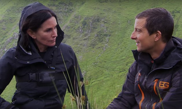 Courteney Cox with TV host Bear Grylls