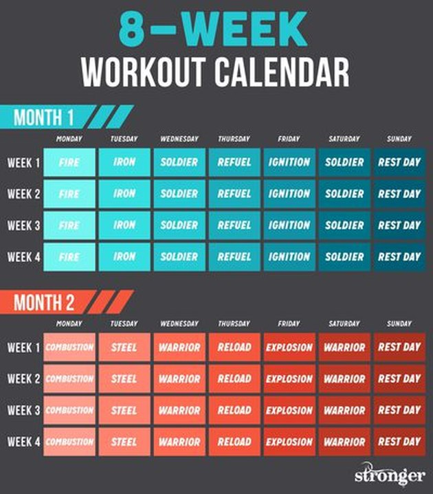 8-week stronger workout calendar