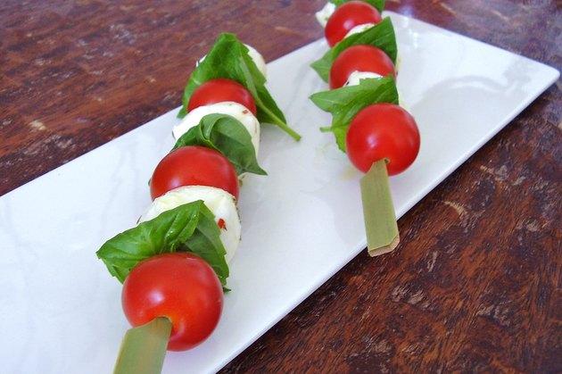 Healthy snack Caprese skewers