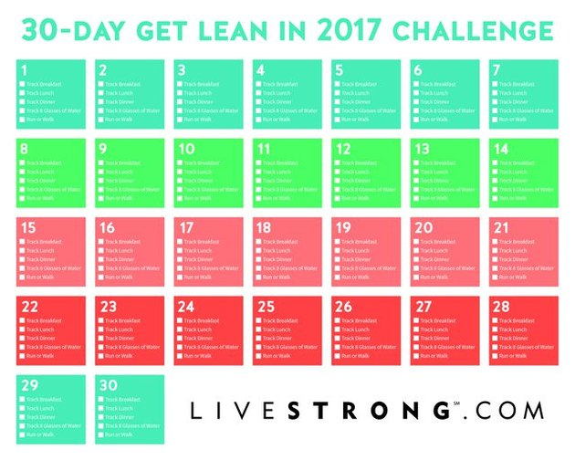 30-Day Get Lean in 2017 Challenge Calendar
