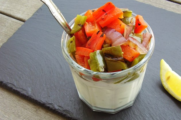 Yogurt topped with grilled vegetables