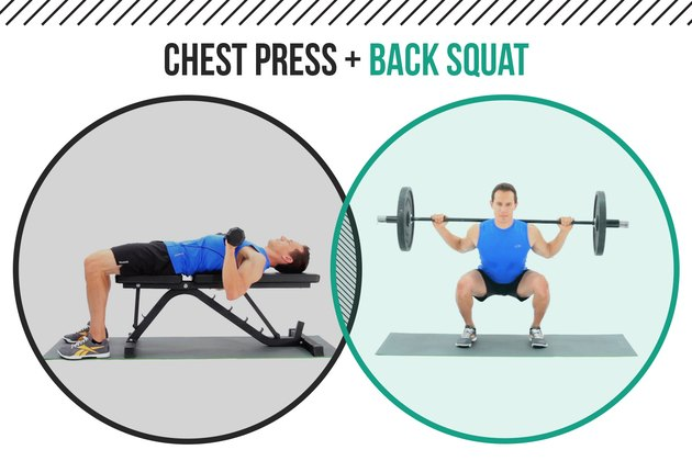 Man demonstrating how dumbbell chest presses and back squats as a superset