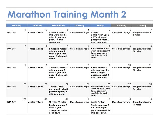 3-Month Marathon Training Schedule - Month 2