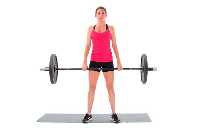 Proper form for a dumbbell deadlift.